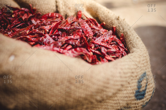 Sack of dried chilies at a market in India