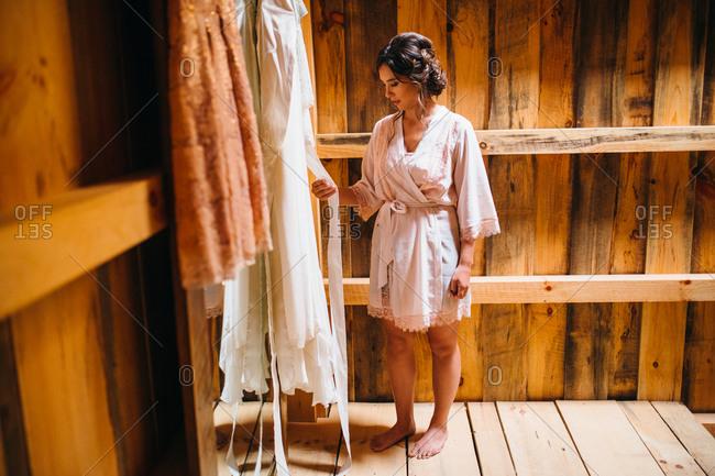 Bride checking her wedding dress