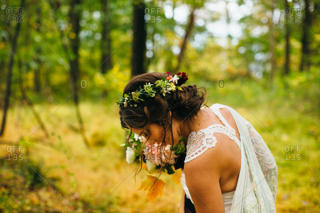 Close up of bride in a forest