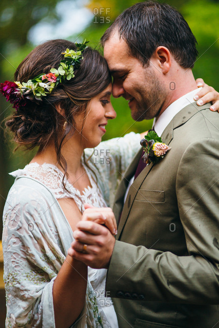 Newlyweds dancing at their wedding reception