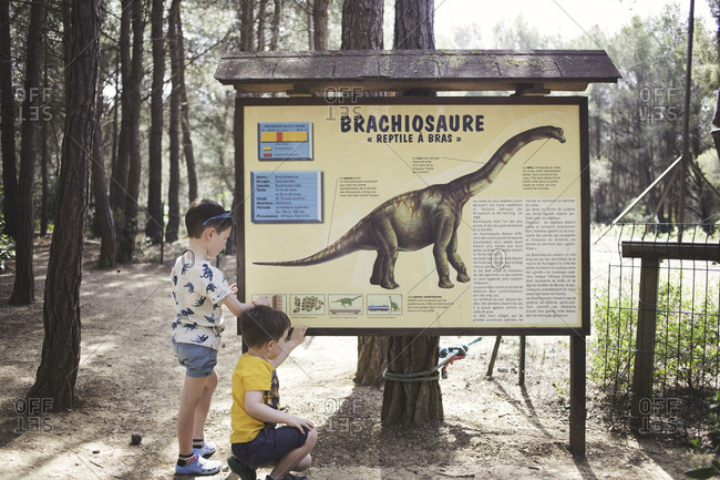 Meze, France - April 3, 2015: Two boys reading information at the Musee Parc Des Dinosaures