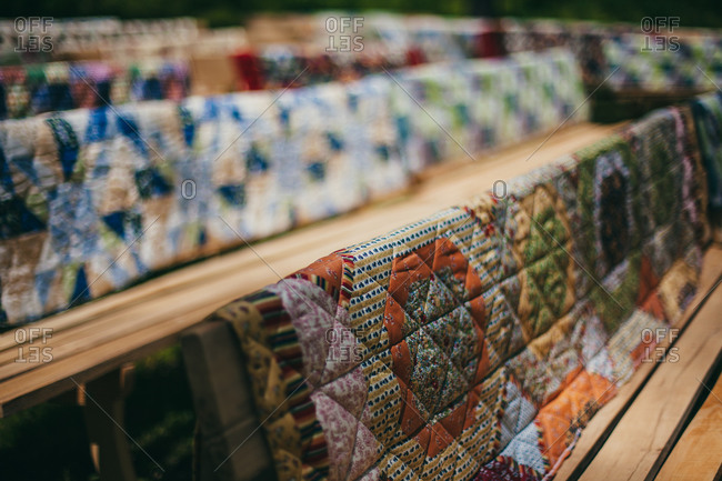 Quilts on a rack