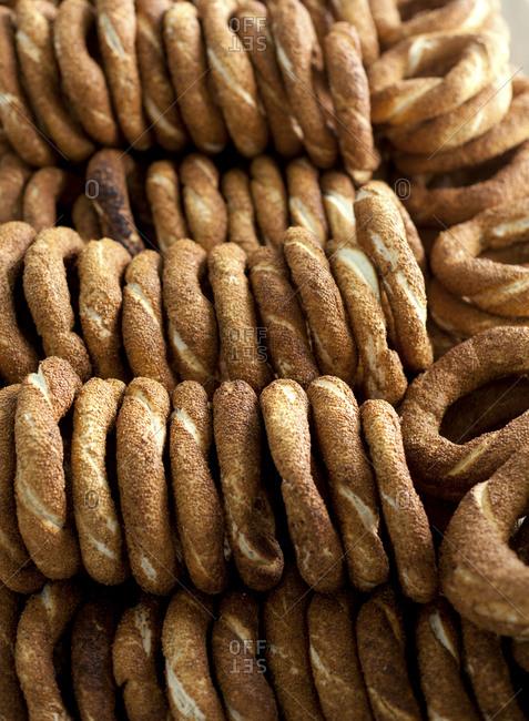 Rows of soft pretzels