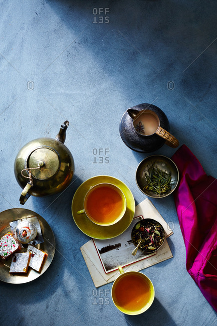 Brewed loose leaf tea from above