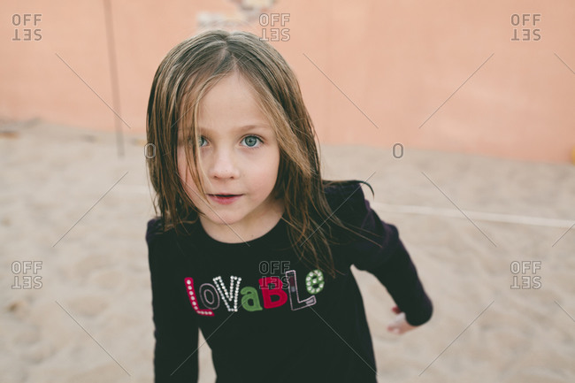Portrait of girl with damp hair