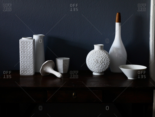 White ceramic household objects