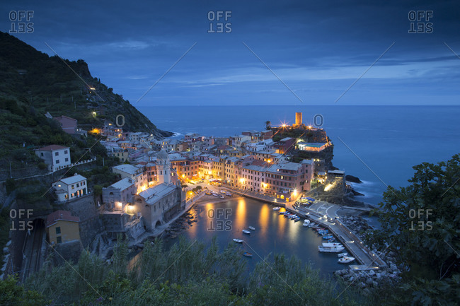 Vernazza in Italy's Cinque Terre shimmers at dusk