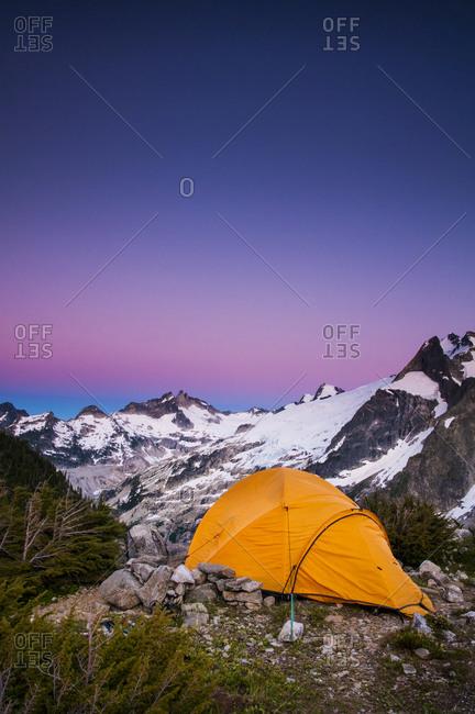 Tent at dusk at White Rock Lakes along the Ptarmigan Traverse, North Cascades, Washington