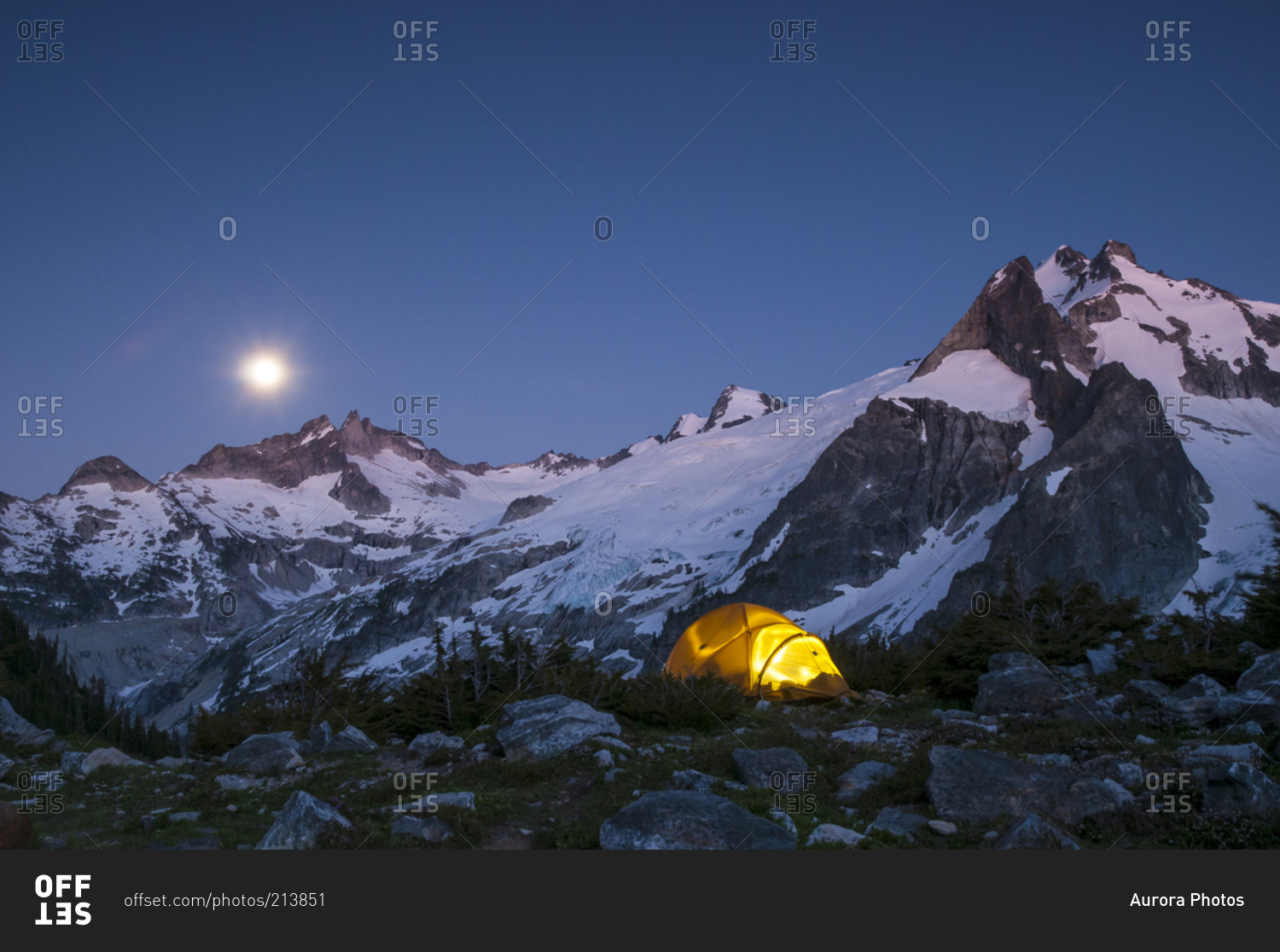 Glowing tent at dusk at White Rock Lakes along the Ptarmigan Traverse North Cascades & Glowing tent at dusk at White Rock Lakes along the Ptarmigan ...