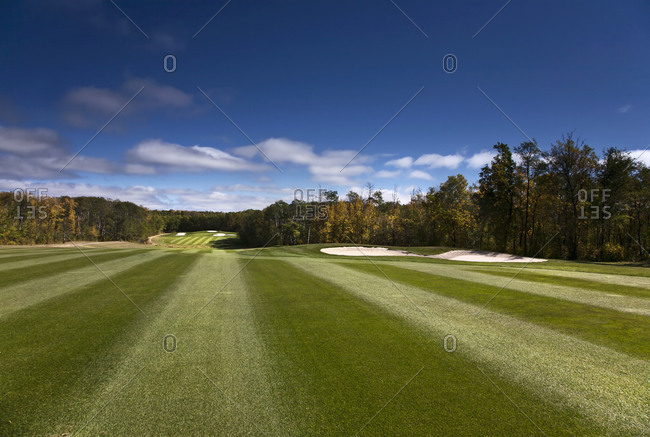 View up the fairway at a golf course