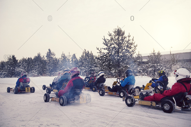 Go-kart race on a snowy track