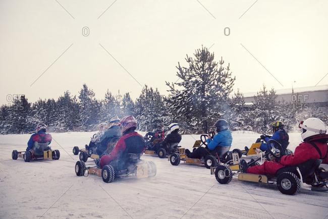 Go-kart race on a snowy track