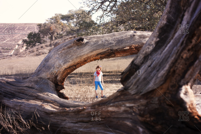 Girl framed by the branches of a fallen tree