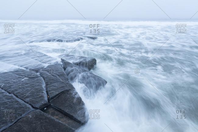 View of a gloomy seacoast