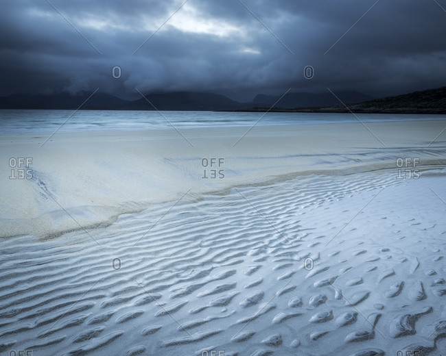 Sand ripples on a stormy seacoast