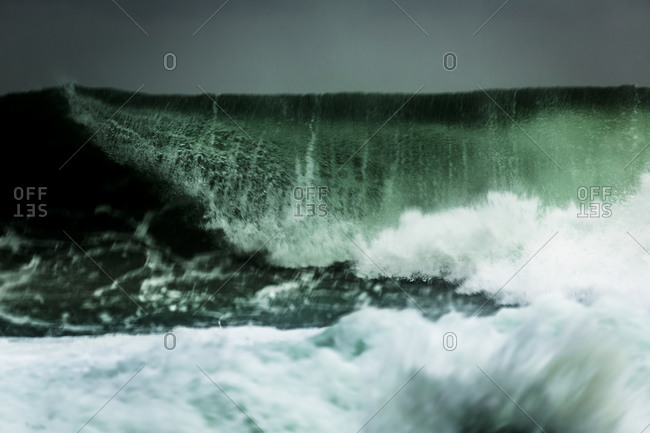 Crashing waves of a stormy ocean