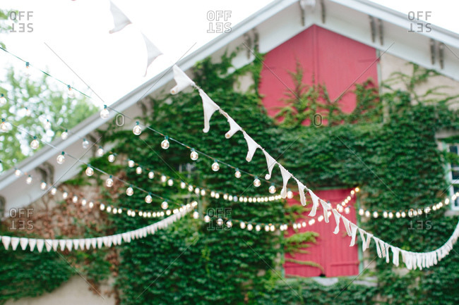 Bunting and string lights at an outdoors event