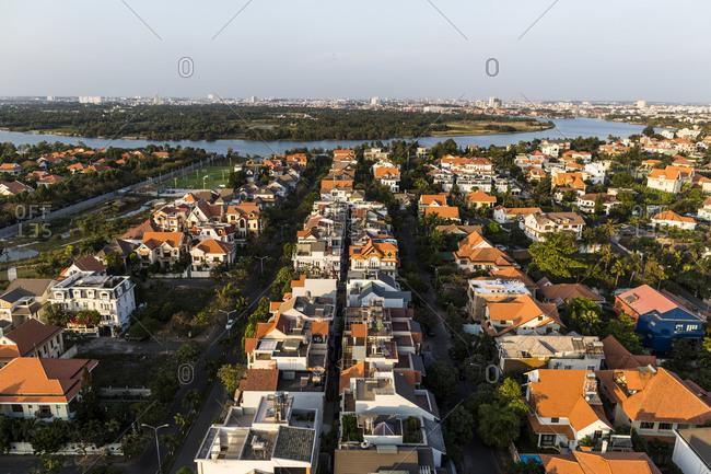 View over District 2 and Saigon River Ho Chi Minh City, Vietnam