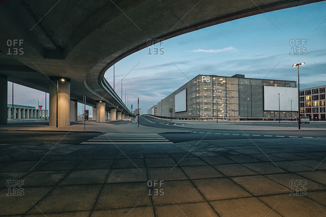 Brandenburg, Germany - March 23, 2015: View to parking garage of Berlin Brandenburg Airport with underpass in the foreground