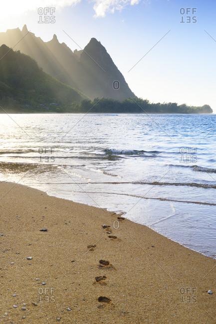 View to Na Pali Coast, Haena Beach, Hanalei, Hawaii