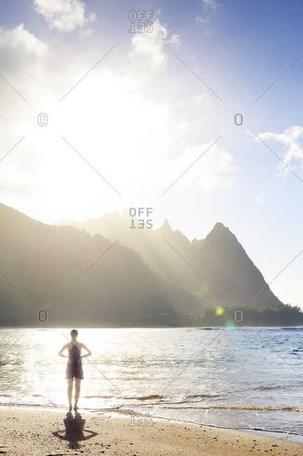 View to Na Pali Coast in the evening light, Hanalei, Hawaii