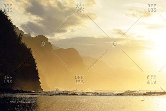 Sunset at Kee Beach and view to Na Pali Coast, Hanalei, Hawaii