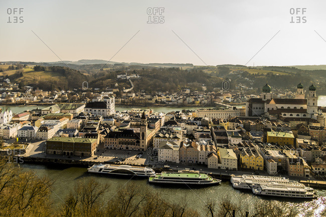 View to city with Inn River and Danube River from castle, Passau