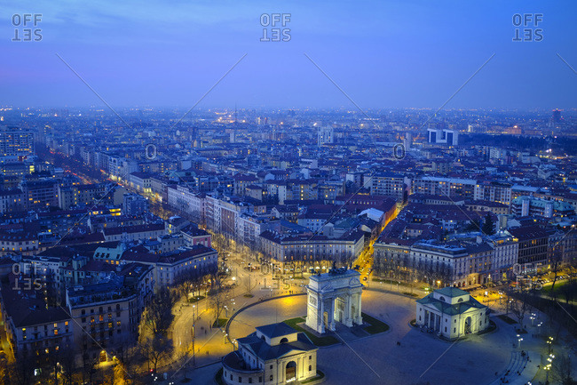 Cityscape with Arco della Pace in the evening, Milan