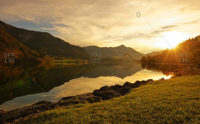 Lake Grundlsee at sunset, Styria