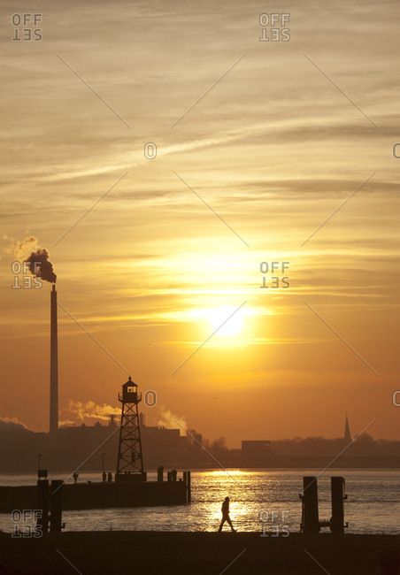 Lighthouse on the pier at sunset, Bremerhaven