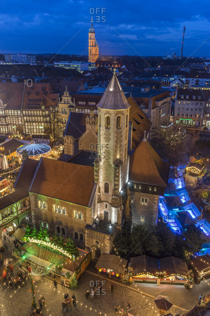 Christmas market in the evening, Braunschweig, Lower Saxony