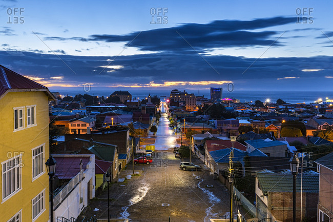 View of Punta Arenas at evening, Chile