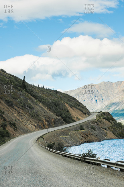 Highway curves along a river in the Yukon