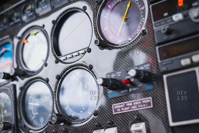 Close up of an airplane's instrument panel