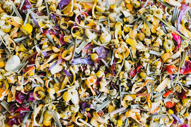 Background of dried flowers and herbs