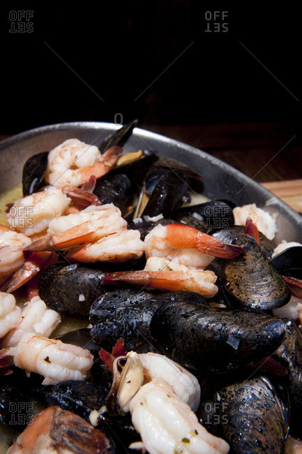 A tray of cooked seafood