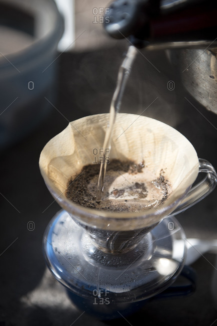 Water pouring into a pour over brewer
