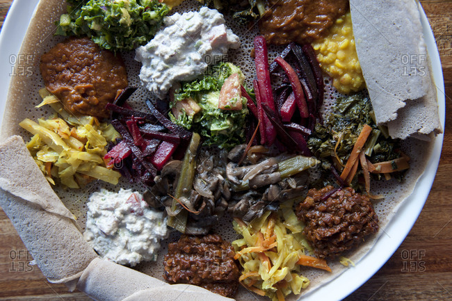 Close up of plate of Ethiopian food