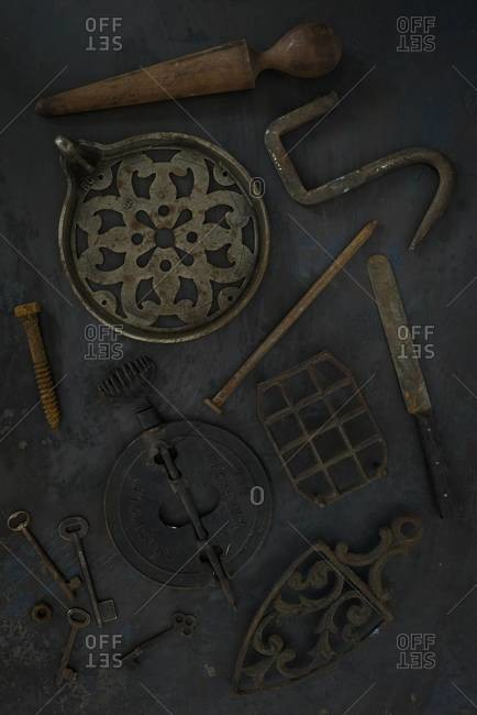 Overhead of antique kitchen items