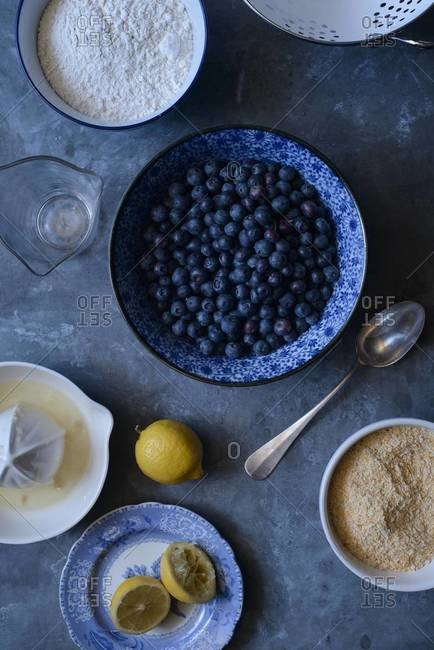 Overhead of arrangement of ingredients to make blueberry pie filling