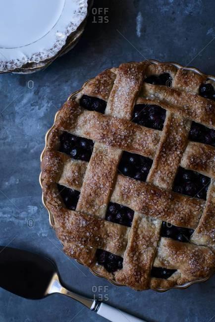Baked lattice crust blueberry pie