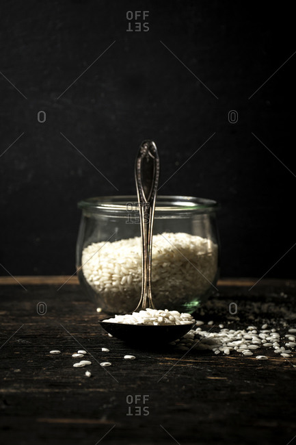 Raw risotto rice in a bowl