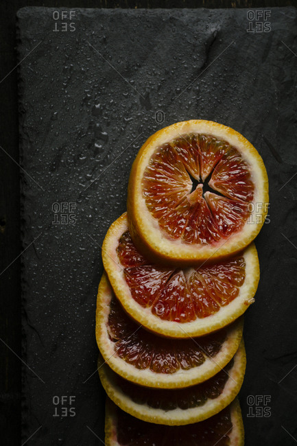 Blood oranges on a slate
