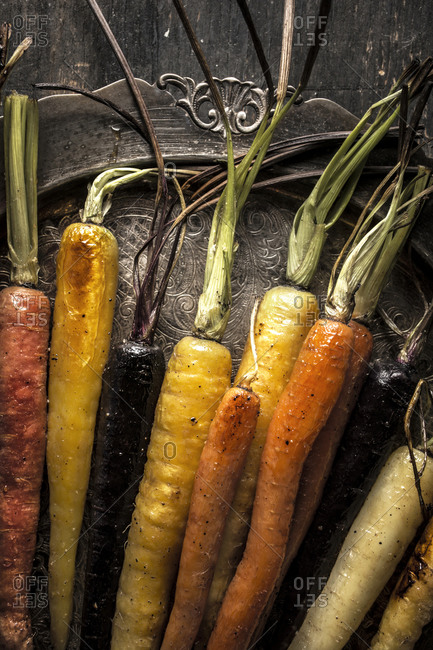 Rainbow carrots on a platter