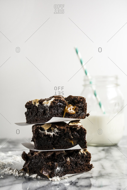 Chocolate marshmallow brownies and milk