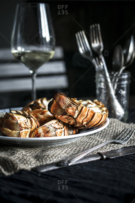 Grilled lobster tails with white wine