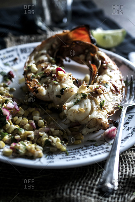 Grilled lobster tails with corn salsa