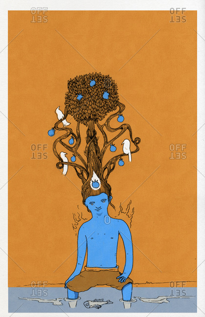 Man sitting next to water with a tree growing from his hair