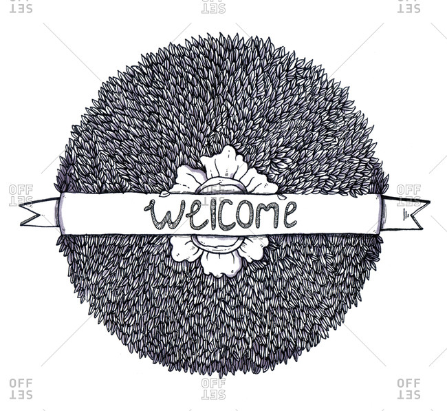 A wreath made of leaves with welcome banner