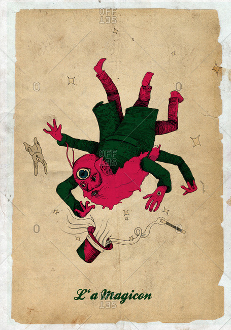 A falling magician with four arms and three legs